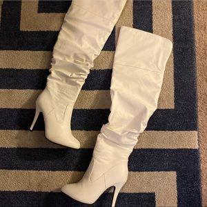 Fashion Nova Over the Knee White Boots Size 81/2